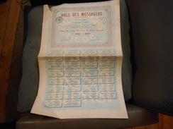 """Titre De 5 Actions""""Hall Des Messagers"""" Liège 1904. 0861 à 0805 - Actions & Titres"""