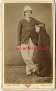 A Voir CDV Vers 1890-soldat Casque Colonial Et Pantalon Blancs-galons Fer De Lance-photo Jules Gotté à Bourges - War, Military