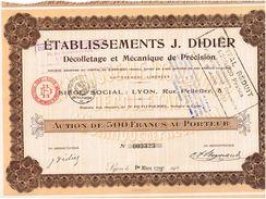 Action Ancienne - Etablissements J. Didier. - Titre De 1923 - - Industrie