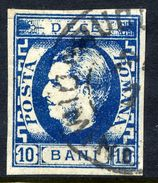ROMANIA 1869 Prince Carol 10 B Blue Used.   Michel 22a - 1858-1880 Moldavia & Principality