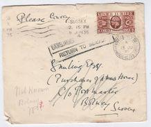 1935 GB COVER To BOLNEY POSTMASTER HAYWARDS HEATH Undelivered RETURNED TO SENDER  Gv Stamps Cds - 1902-1951 (Kings)
