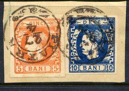 ROMANIA 1869 Prince Carol 5 B. Orange And 10 B Blue Used On Piece.   Michel 21, 22a - 1858-1880 Moldavia & Principality