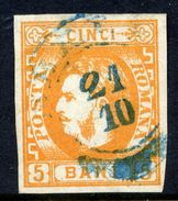 ROMANIA 1869 Prince Carol 5 B.  Used.   Michel 21 - 1858-1880 Moldavia & Principality