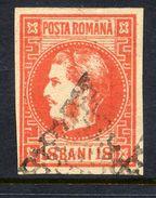 ROMANIA 1868 Prince Carol 18 B.brick-red  Used.   Michel 20 - 1858-1880 Moldavia & Principality