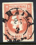 ROMANIA 1868 Prince Carol 18 B.salmon-red  Used.   Michel 20 - 1858-1880 Moldavia & Principality