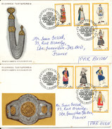 Greece FDC 1972 National Costumes I Complete Set Of 8 On 2 Covers With Cachet Sent To France - FDC