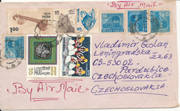 India Cover Sent Air Mail To Czechoslovakia With A Lot Of Stamps - India
