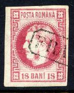 ROMANIA 1868 Prince Carol 18 B. Carmine  Used.   Michel 20 - 1858-1880 Moldavia & Principality