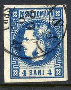ROMANIA 1868 Prince Carol 4 B. Blue  Used.   Michel 19 - 1858-1880 Moldavia & Principality