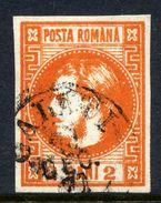 ROMANIA 1868 Prince Carol 2 B. Red-orange,  Used.   Michel 17 - 1858-1880 Moldavia & Principality