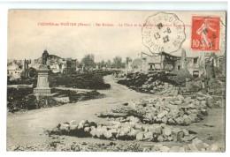 19254  Cpa   FRESNES En WOËVRE   ;  Ses Ruines  Et La Statue Du Général Margueritte  1922 - Other Municipalities