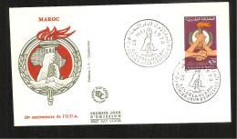 FDC 1973  10e ANNIVERSAIRE  DE L O U A - Marruecos (1956-...)