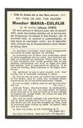 Z 207. MOEDER  MARIA - AULALIA  (J. JORIS) - °MIELEN-BOVEN-AALST 1890 / + Ursulienen Te ST-TRUIDEN 1910 - Devotion Images