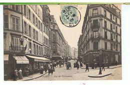CPA-75-1905-PARIS-LA RUE DES POISSONNIERS-ANIMEE-NOMBREUX PERSONNAGES-ATTELAGES-PHARMACIE-TABACS-HUITRES- - France