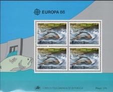 Fische Naturschutz Portugal Block 50 ** 22€ CEPT 1986 Maifische WWF Hojita Natur S/s Bloc Fish Sheet M/s Bf EUROPA - Blocks & Kleinbögen