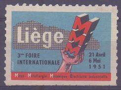 BELGIUM:1951: Vignette/Cinderella – Without Glue: §@§ 3e Foire Internationale De LIÈGE §@§ - Erinnophilie