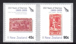 NEW ZEALAND 2005 150th Anniversary Of New Zealand Stamps S/ADH: Set Of 2 Stamps UM/MNH - New Zealand