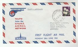 1965 New Zealand FIRST FLIGHT COVER TAUPO Via SPANZ  To Auckland  Aviation Stamps - New Zealand