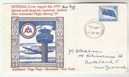 1970 New Zealand FIRST FLIGHT COVER Auckland To PAGO PAGO SAMOA Via AMERICAN AIRLINES  BOEING 707 Aviation Stamps - New Zealand