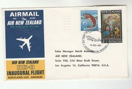 1965 New Zealand FIRST FLIGHT COVER Auckland To LOS ANGELES USA Via AIR NEW ZEALAND DC8 Aviation Stamps Fish - New Zealand