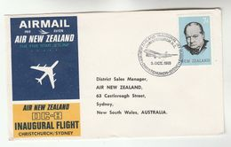 1965 New Zealand FIRST FLIGHT COVER Christchurch  To SYDNEY AUSTRALIA Via AIR NEW ZEALAND DC8  Aviation Stamps - New Zealand