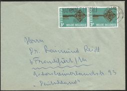 J) 1972 BELGIUM, EUROPA CEPT, CROSSBAR KEY WITH CEPT EMBLEM, NATIONAL LOTTERY, CIRCULATED COVER, FROM BELGIUM TO GERMANY - Belgium