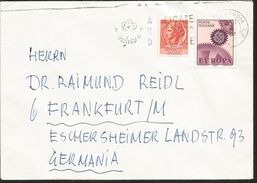 J) 1967 ITALY, EUROPA CEPT, SYRACUSE COIN, GEAR, CIRCULATED COVER, FROM ITALY TO GERMANY - Italy