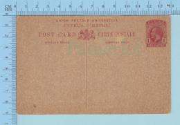 Chyprus  -Never Use, Stationary George V, One Piastre Post Card Carte Postale - Chypre (République)