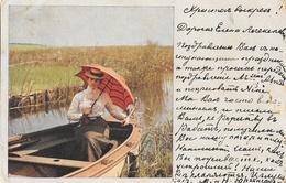 Femme En Ombrelle Dans Une Barque - Série 1003, Strandbilder Im Khan - Carte Dos Simple 1905 - Frauen