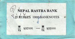 NEPAL RUPEES-25 BANKNOTE LABEL 1997 AD USED/GOOD - Billets