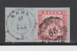 Bad299 / Mi.Nr. 18, Ausschnitt Nr. Stempel 68, Spätverwendung - Baden