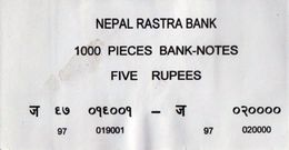 NEPAL RUPEES-5 BANKNOTE LABEL 2009 AD USED/GOOD - Banknotes