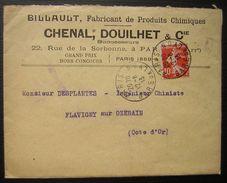 1913 Paris, Oblitération Gare De Lyon Billaut Fabricant De Produits Chimiques Chenal Douillet - Storia Postale
