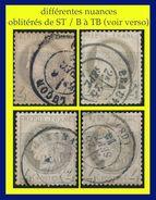 N° 52 CÉRÈS IIIe RÉPUBLIQUE 1872 - 4 EXEMPLAIRES - OBLITÉRÉS DE ST / B à TB - VOIR PHOTOS - - 1871-1875 Cérès