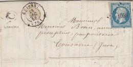 LETTRE 1858 N° 14 PC 1058 CUISERY SAONE ET LOIRE POUR COUZANSE JURA  BOITE RURALE  C =  SIMANDRE - Marcophilie (Lettres)