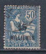 Port-Saïd N° 56 O  : 15 M. Sur 50 C. Bleu Oblitération Faible Sinon TB - Usati
