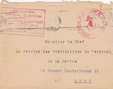 LETTRE 19.7.46  BUREAU MARITIME DE RECRUTEMENT DE CASABLANCA MAROC  POUR SSPM LYON - Marcophilie (Lettres)