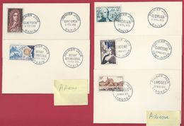 Y&T 1008/9 1019/1021 - 1955 Saint Simon , Rotary , Limoges , Ganterie , Florian Sur Carte FDC - FDC