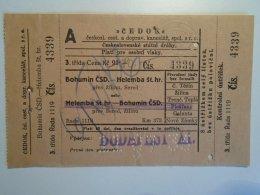 H3.1 Ticket De Train - Railway  - BIGLIETTO FERROVIE - CEDOK - BOHUMIN-HELEMBA-Czechia 1935 - Transportation Tickets