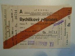 H3.3 Ticket De Train - Railway  - BIGLIETTO FERROVIE - CEDOK - Rýchlikový Príplatek-Czechia 1935 - Unclassified