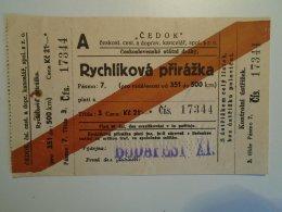 H3.4 Ticket De Train - Railway  - BIGLIETTO FERROVIE - CEDOK - Rýchlikový Príplatek-Czechia 1935 - Transportation Tickets