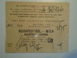 H3.5 Ticket De Train - Railway  - BIGLIETTO FERROVIE -Wagons-Lits - Budapest-Wien 1929 - Transportation Tickets