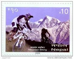 NEPAL MOUNTAIN BIKING RUPEE 10 STAMP NEPAL 2009 MINT MNH - Mountain Bike