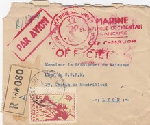 LETTRE 3.9.46  RECOMMANDE DAKAR. MARINE EN AFRIQUE OCCIDENTALE FRANCAISE EM. MARINE NATIONALE.  POUR SSPM LYON 4 CACHETS - Posta Marittima