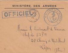 LETTRE 19.7.46.  MINISTERE DE LA MARINE. POSTE NAVALE OFFICIEL EN FM  POUR SSPM LYON - Marcophilie (Lettres)