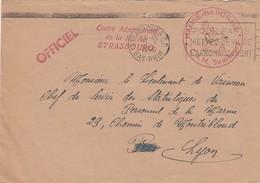 LETTRE 31.7.46.  MARINE NATIONALE CAM STRSBOURG OFFICIEL EN FM  POUR SSPM LYON - Marcophilie (Lettres)