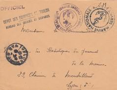 LETTRE 19.7.46.  MARINE NATIONALE DEPOT DES EQUIPAGES DE TOULON BUREAU DES DECEDES  OFFICIEL EN FM  POUR SSPM LYON - Marcophilie (Lettres)