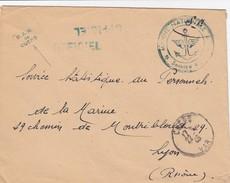 LETTRE 17.7.46.  MARINE NATIONALE . BAN DE CUERS VAR.  OFFICIEL EN FM  POUR SSPM LYON - Marcophilie (Lettres)