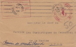LETTRE 20.7.46.  MARINE NATIONALE . BUREAU MARITIME DE RECRUTEMENT DE CASABLANCA MAROC  OFFICIEL EN FM  POUR SSPM LYON - Marcophilie (Lettres)
