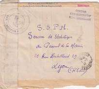 LETTRE 19.7.46.  MARINE NATIONALE . CENTRE ADMINISTRATIF DE SIDI-ABDALLAH   EN FM  POUR SSPM LYON - Marcophilie (Lettres)